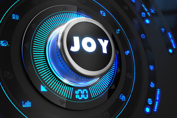 Joy Button with Glowing Blue Lights.