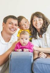 Family Concept: Natural Portrait of Happy Caucasian Family Get T