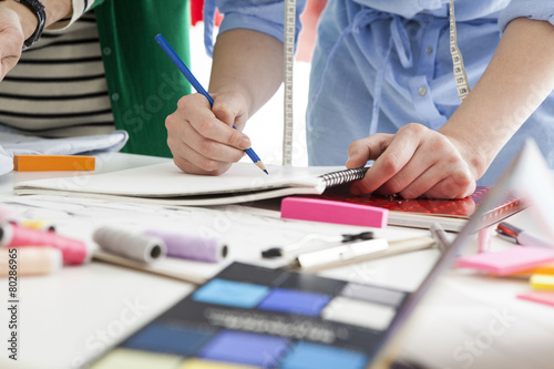 Woman depicting the design drawing of clothes - 80286965