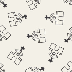 church doodle drawing seamless pattern background
