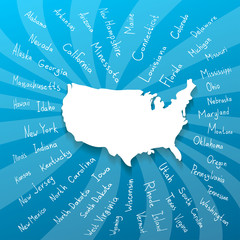 Freehand USA states vector illustration