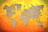 vintage world map with Red background poster