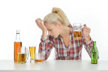 Woman suffering from alcoholism