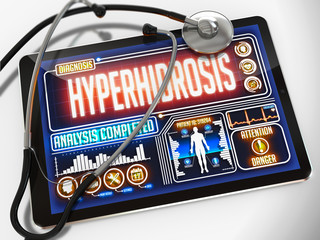 Hyperhidrosis on the Display of Medical Tablet.