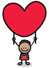 happy lover boy with red heart cartoon illustration