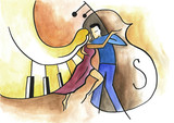 Abstract art design with dancing couple, piano and contra-bass