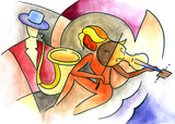 Abstract art design with violinist and trumpeter