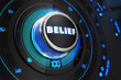Belief Button with Glowing Blue Lights. - 80289353