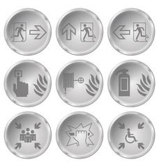 Monochrome fire escape related icon set