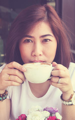 beauty girl with cup of coffee in coffee shop - Vintage effect s