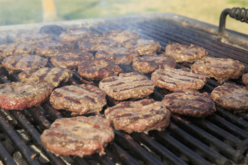 Hamburger on the grill on 4th of July
