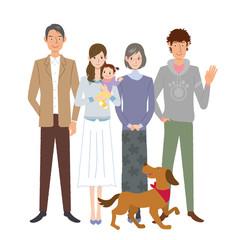 家族 イラスト 3世代