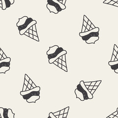 ice cream doodle drawing seamless pattern background