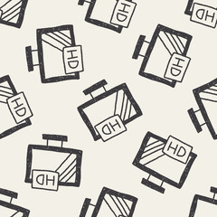television doodle drawing seamless pattern background
