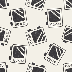 microwaves doodle drawing seamless pattern background