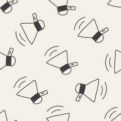 loudspeaker doodle drawing seamless pattern background