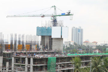 constructions of big building in the city.