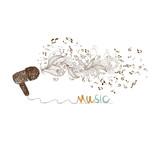i love music doodle art poster