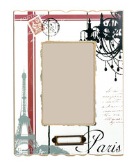 White aged photo frame with drawings of Eiffel Tower and black