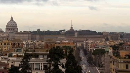 Dawn over Rome. Via del Corso. Italy. Time Lapse