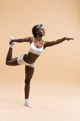 Woman in the stretching yoga position