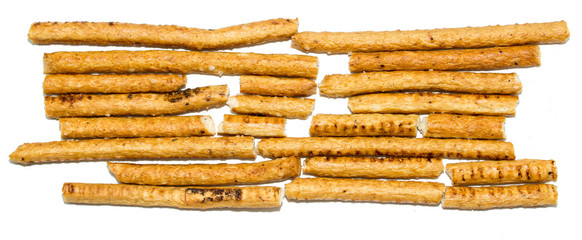 salted bread sticks on white background