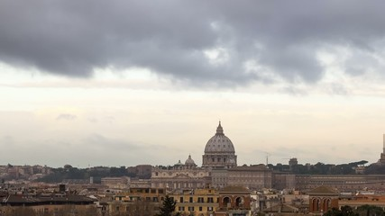 The dome of St. Peter's Basilica. Zoom. Rome, Italy.