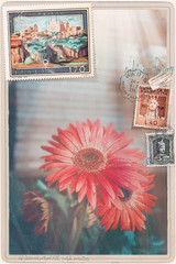 Vintage  postcard with flowers of spring and stamps series