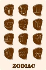 zodiacsymbols on fingerprint icons set