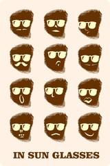 faces in glasses icons set on finger tip