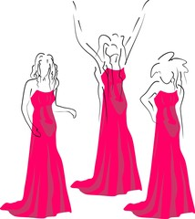 fashion woman pose in dress outline sketch
