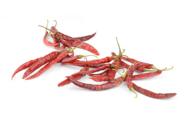 dry red pepper on white background