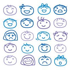 Face Kids Draw Emotion Feeling Icon Cute Cartoon Vector Design