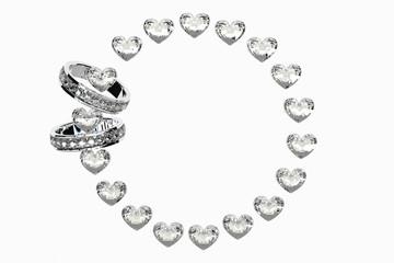 2つの指輪をハートの輪