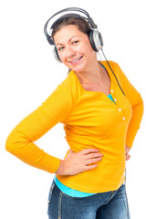 beautiful girl in headphones listening to music