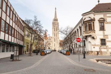Buda Castle Street, a Matthias Church in the background