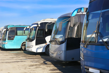 tourist buses on parking