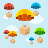 Vector parachute fly with clouds. Flat Design - 80294561