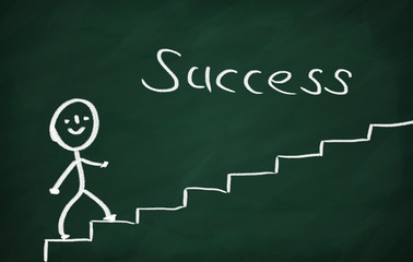 On the blackboard draw character and write Success