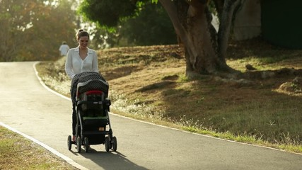 Woman Mother Mom With Toddler in Pushchair Walking In Park