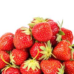 Fresh fruit strawberries on white background.