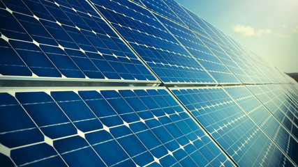 Closeup of photovoltaic solar panels