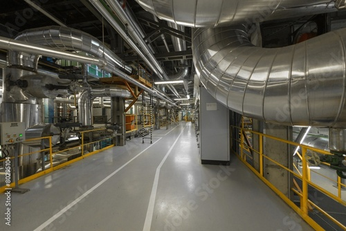 Industrial pipes in a thermal power plant - 80295104