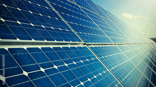 Closeup of photovoltaic solar panels - 80295111