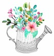 Watercolor flowers and doodle watering can - 80295306
