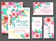 Beautiful set of invitation cards with watercolor flowers elemen - 80295335