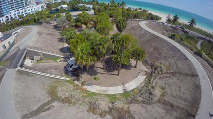 4k Aerial drone video South Pointe Park Miami Beach