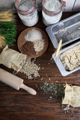 Preparations for baking delicious wholemeal bread