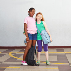 Two girls in elementary school