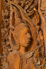 the ancient wood carving for deva statue